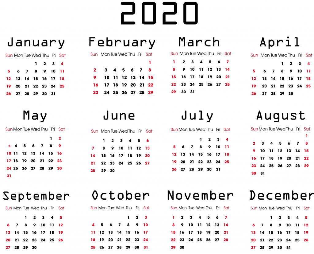 Fillable Yearly Calendar 2020