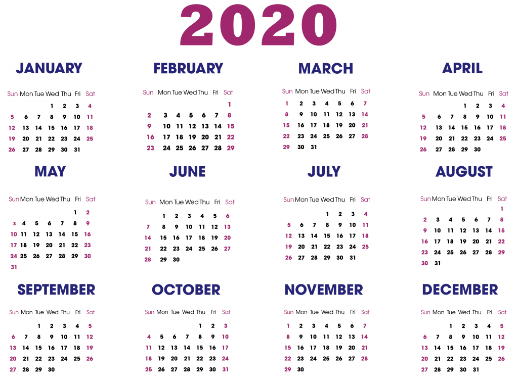 Free Printable Yearly Calendar Templates 2020