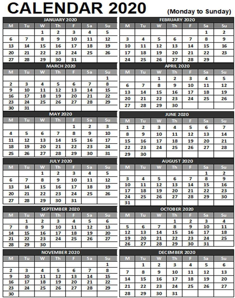 Free Yearly Printable 2020 Calendar One Page