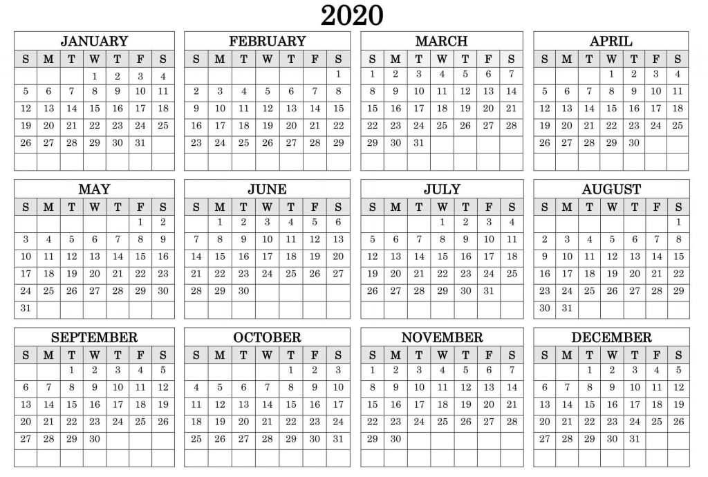 Yearly 2020 12 Month Calendar Template