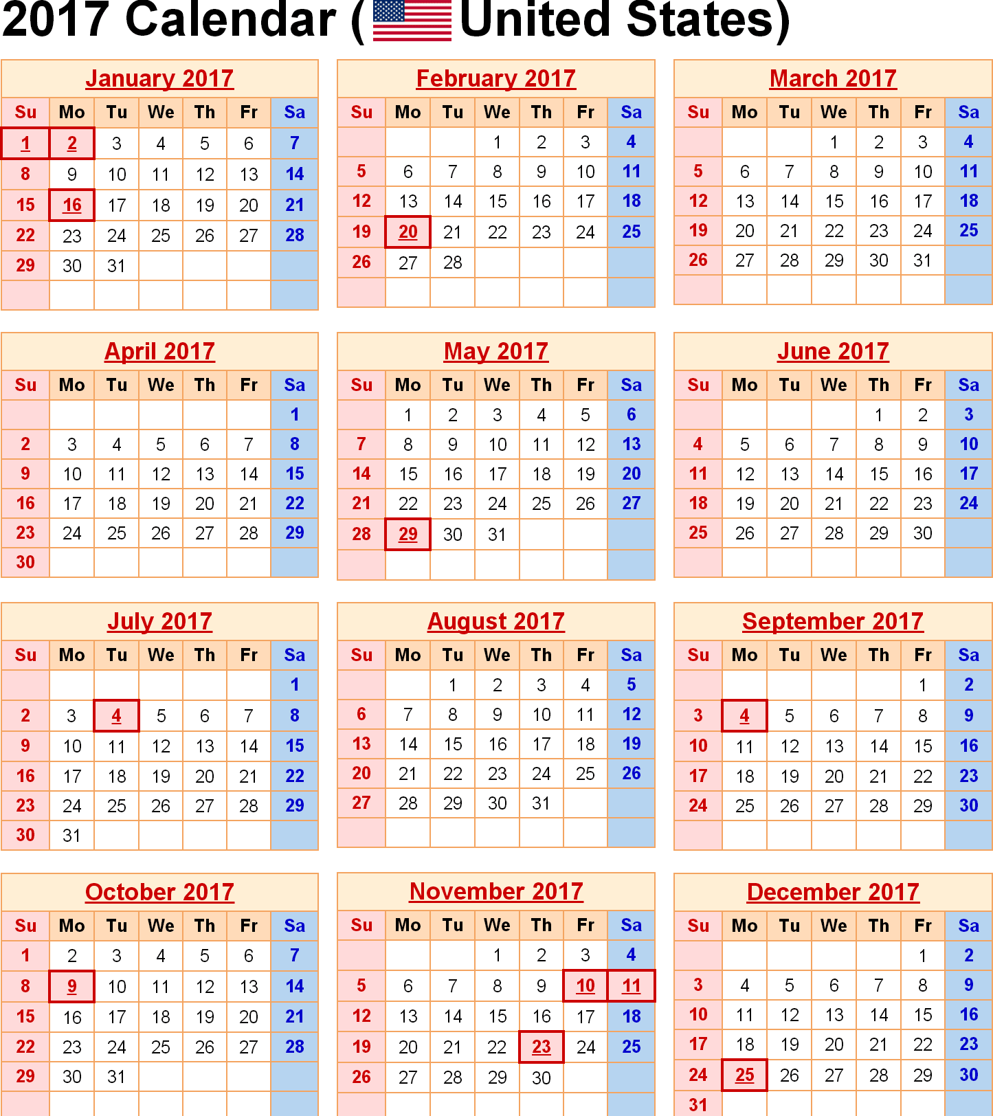Holiday Calendar Us 2017 Calendar For Year 2017 United States Time And Date Usa National Holidays