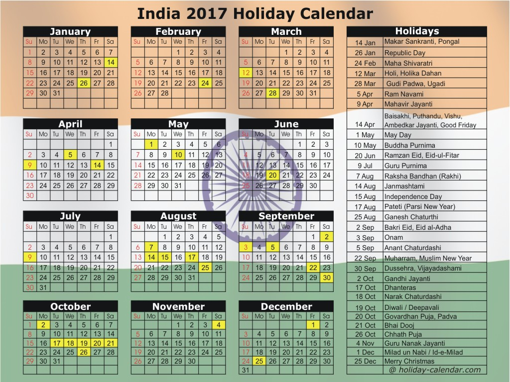 Indian Calendar 2017 With holidays And Festival