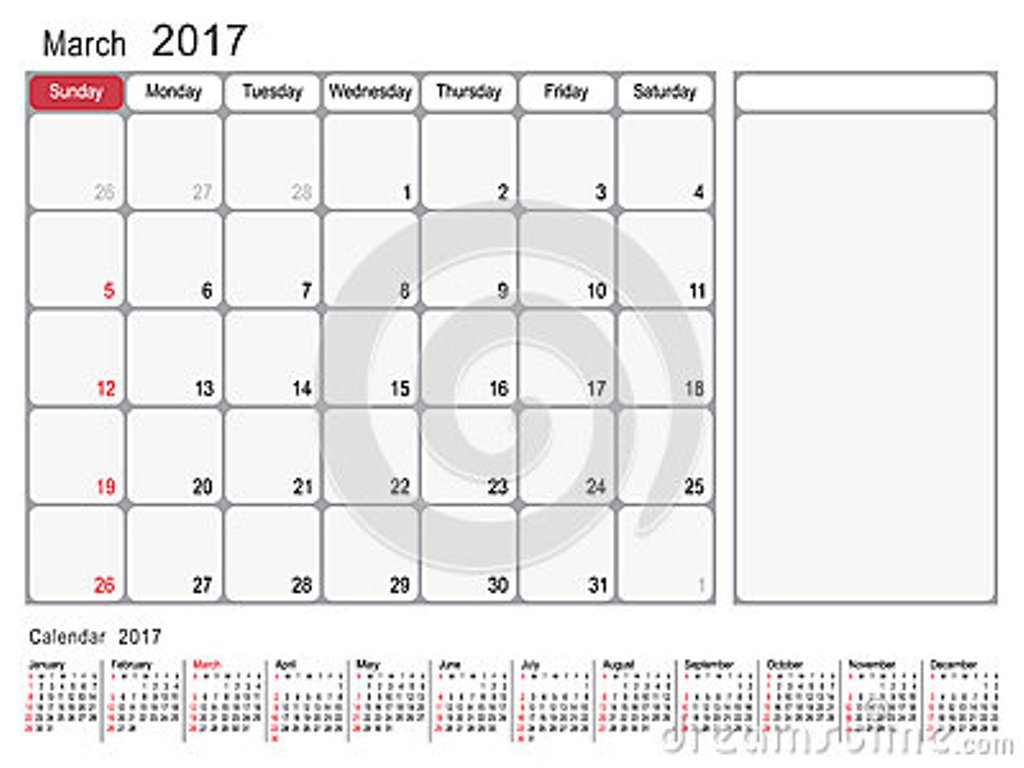 Printable Calendar March 2017 Templates With Notes