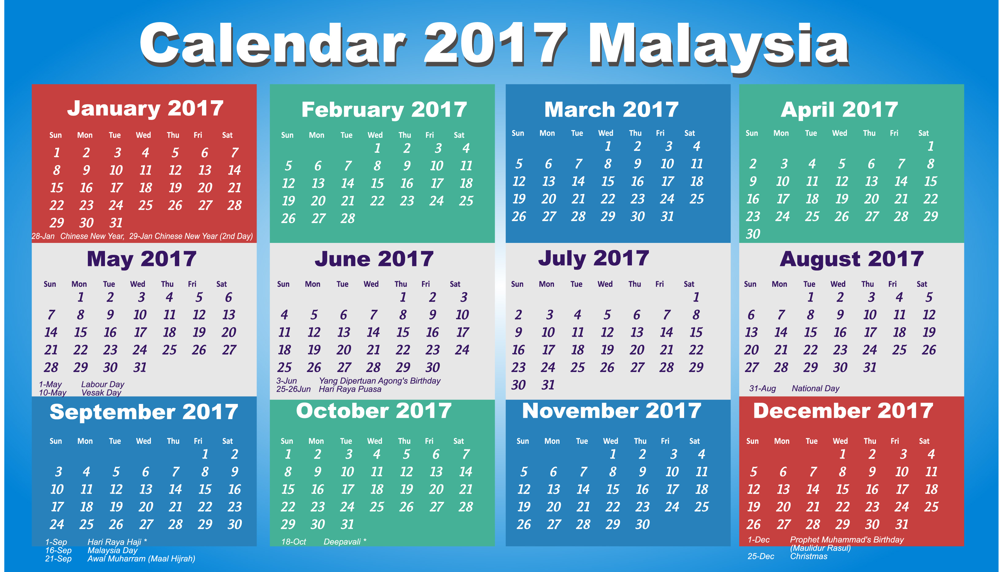 April 2017 Calendar with Holidays Malaysia