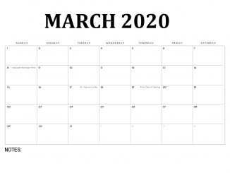 Simple March 2020 Calendar Template Excel