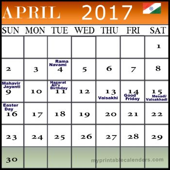 april 2017 calendar with holidays india