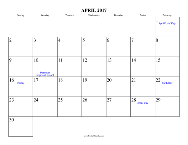 april 2017 calendar with holidays usa
