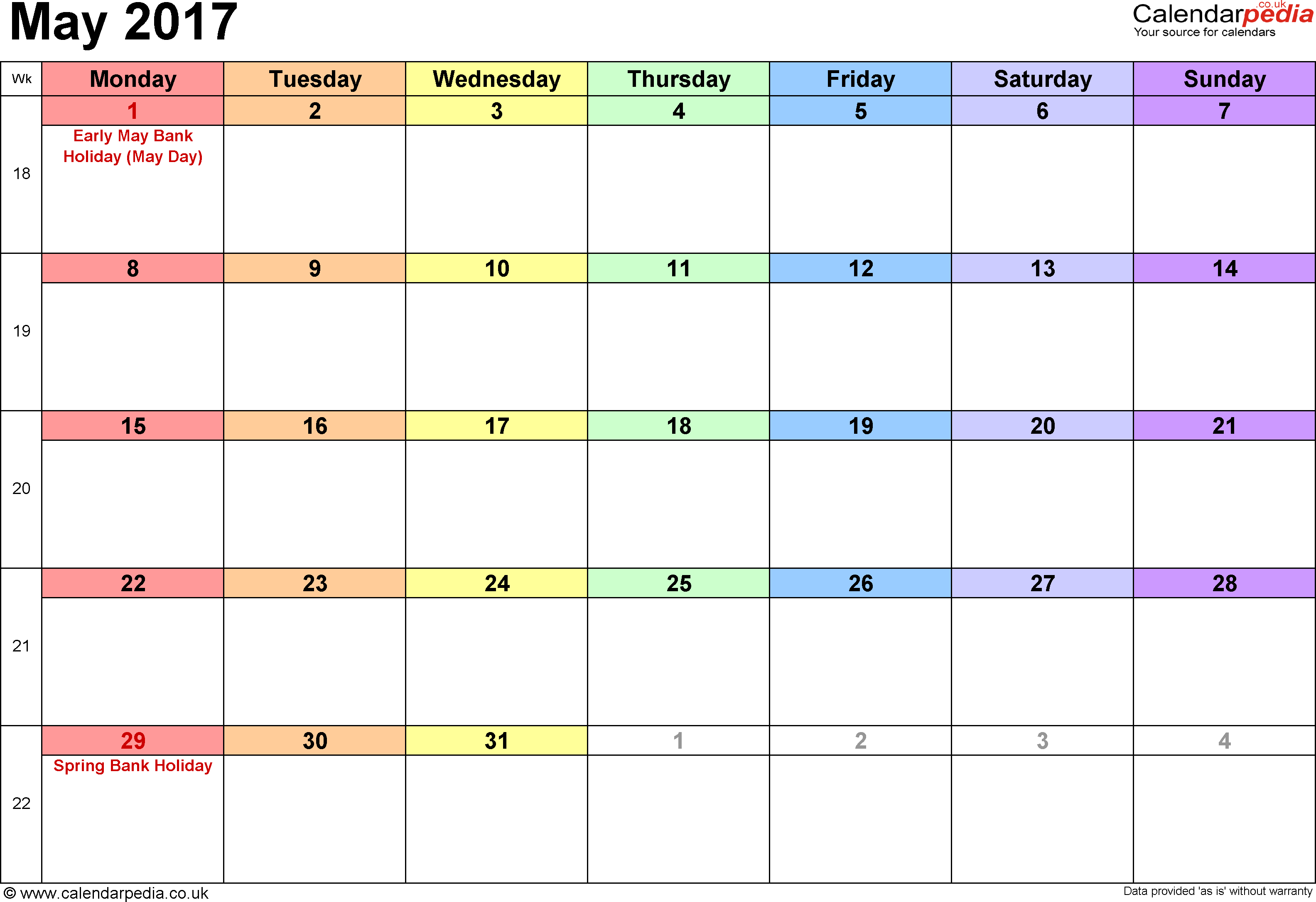 May 2017 Calendar Excel Template
