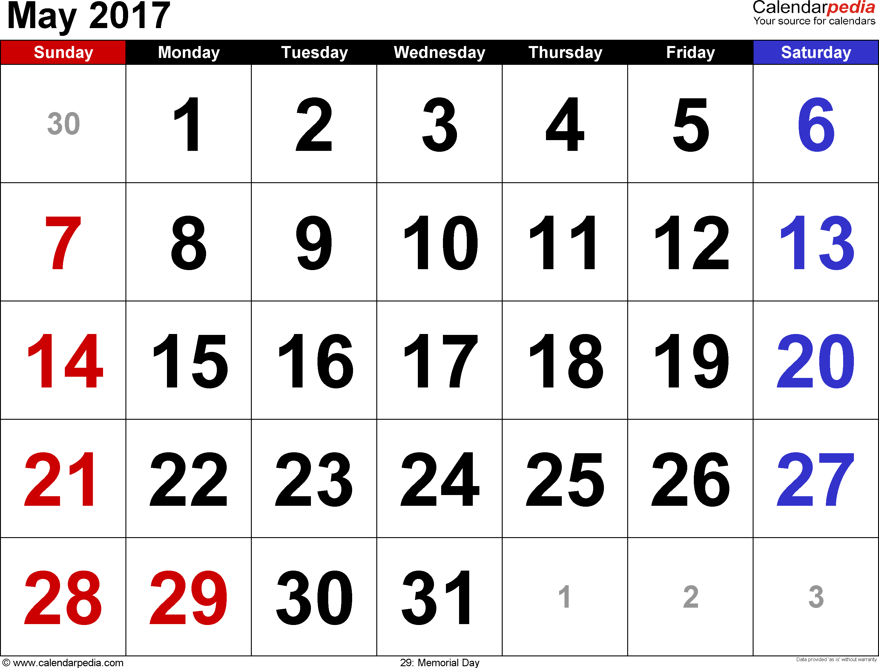 May 2017 calendar for word, excel, pdf