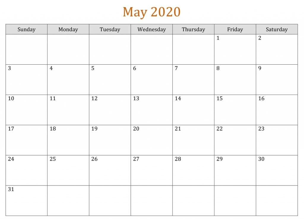 Blank May 2020 Calendar Template To Print
