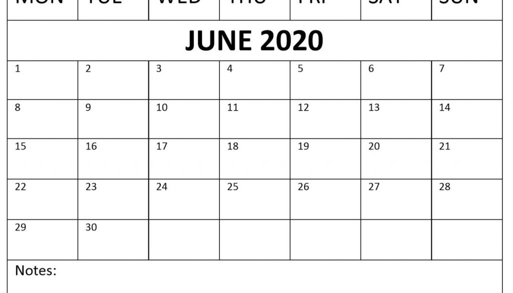 June 2020 Calendar with Templates