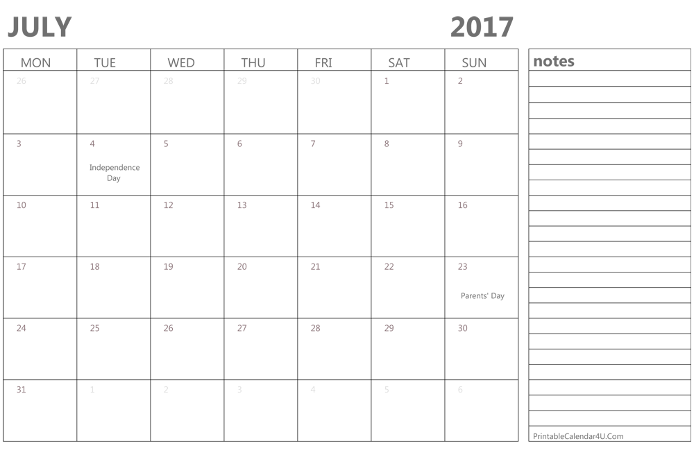 july 2017 calendar with lines