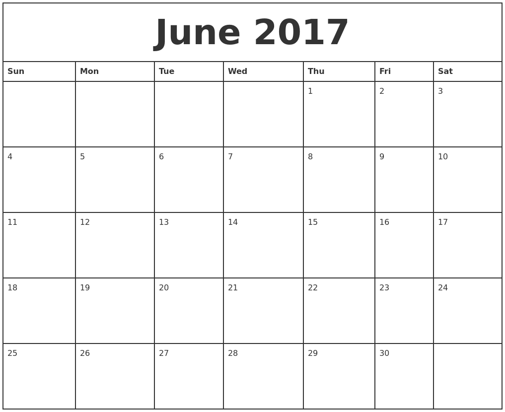 june 2017 printable calendar with lines
