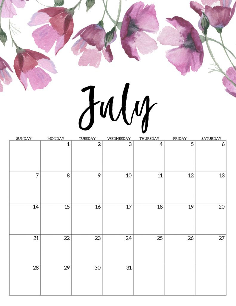 Decorative July 2020 Calendar