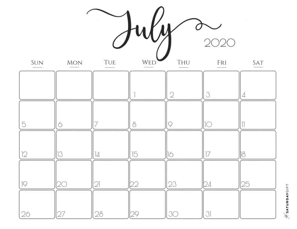 Decorative July 2020 Calendar Blank Template