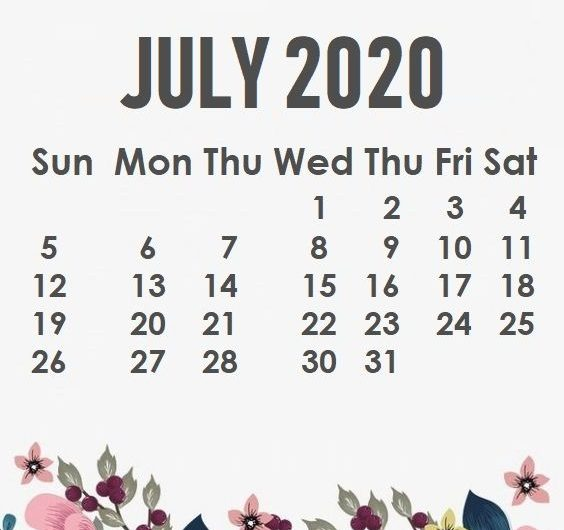 Decorative July 2020 Calendar Cute