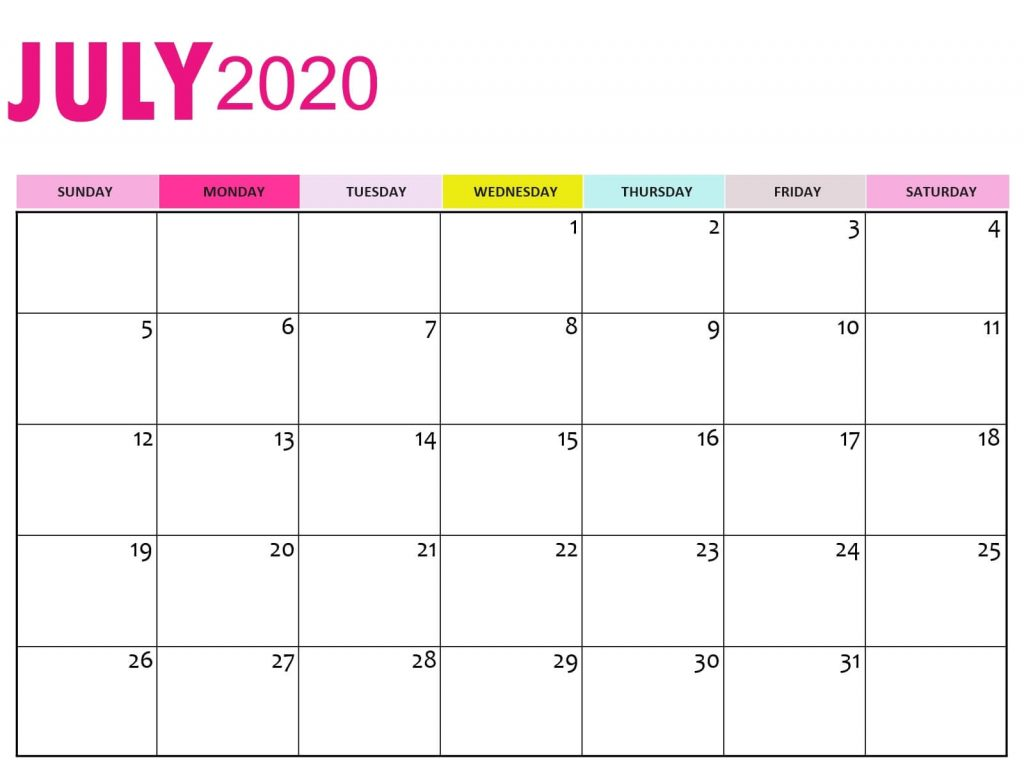 July 2020 Calendar Cute Wallpaper