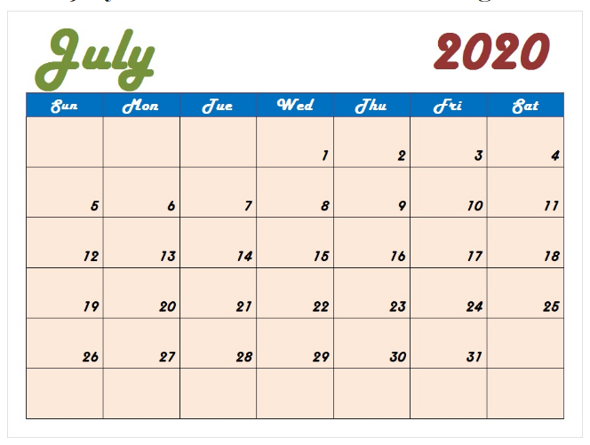 July 2020 Cute Calendar Template
