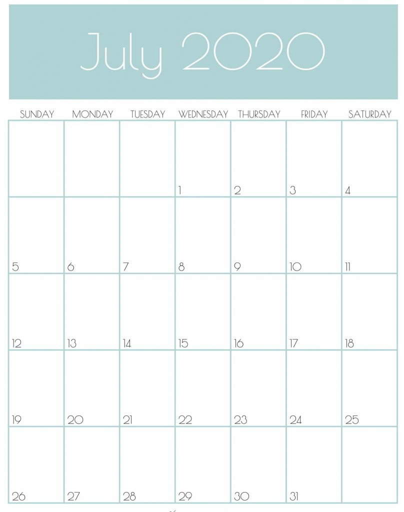 Monthly July 2020 Calendar Free Printable