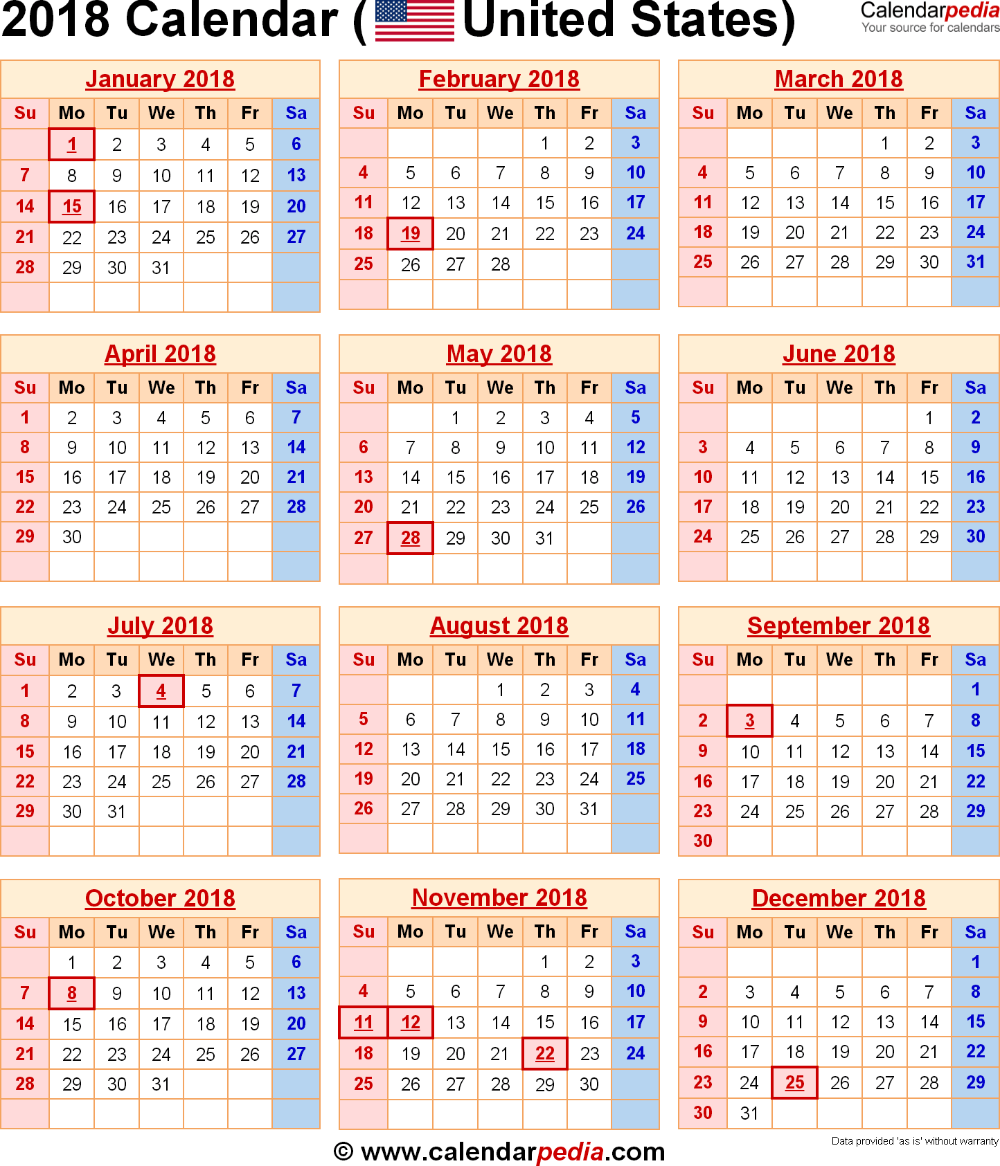 2018 Calendar with Federal Holidays US