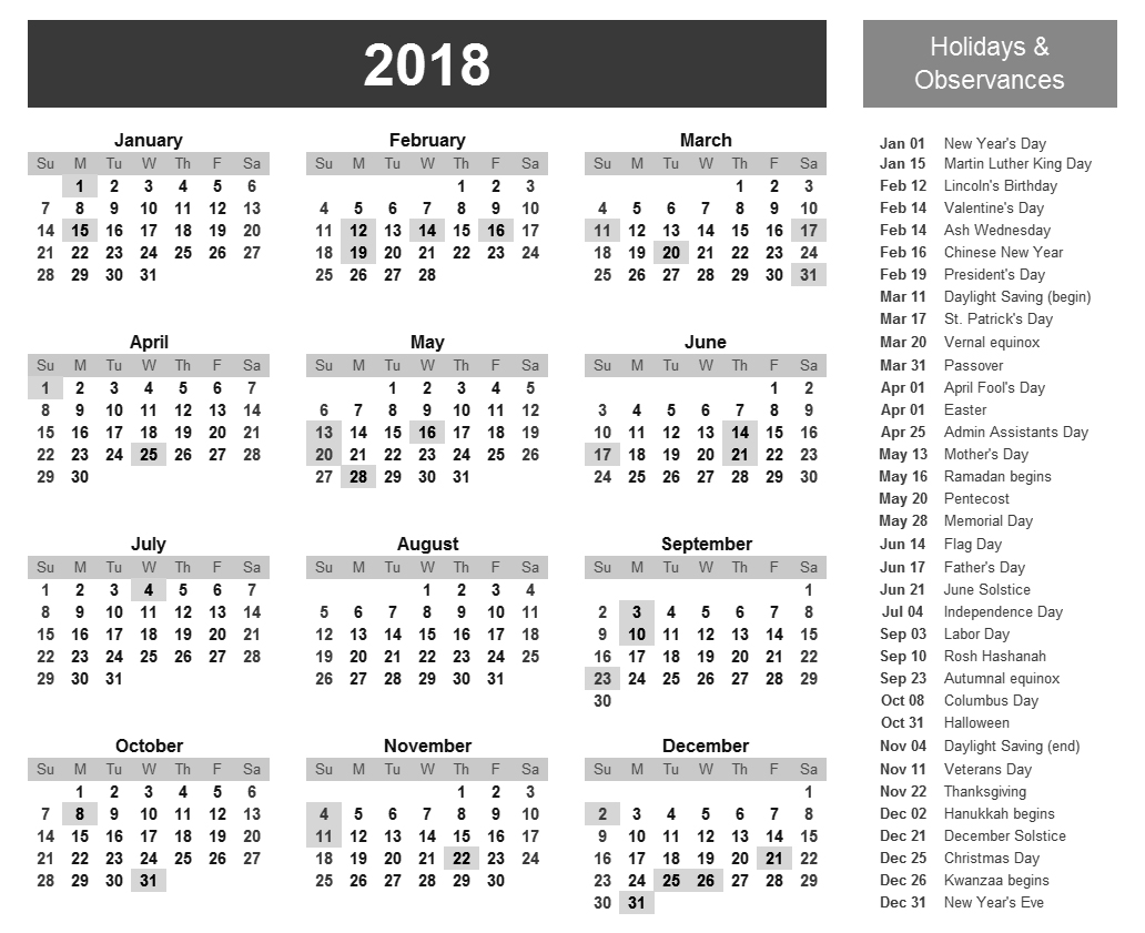 2018 calendar with holidays and Observances