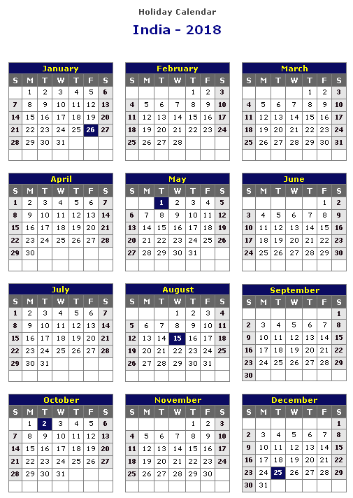 2018 calendar with indian holidays