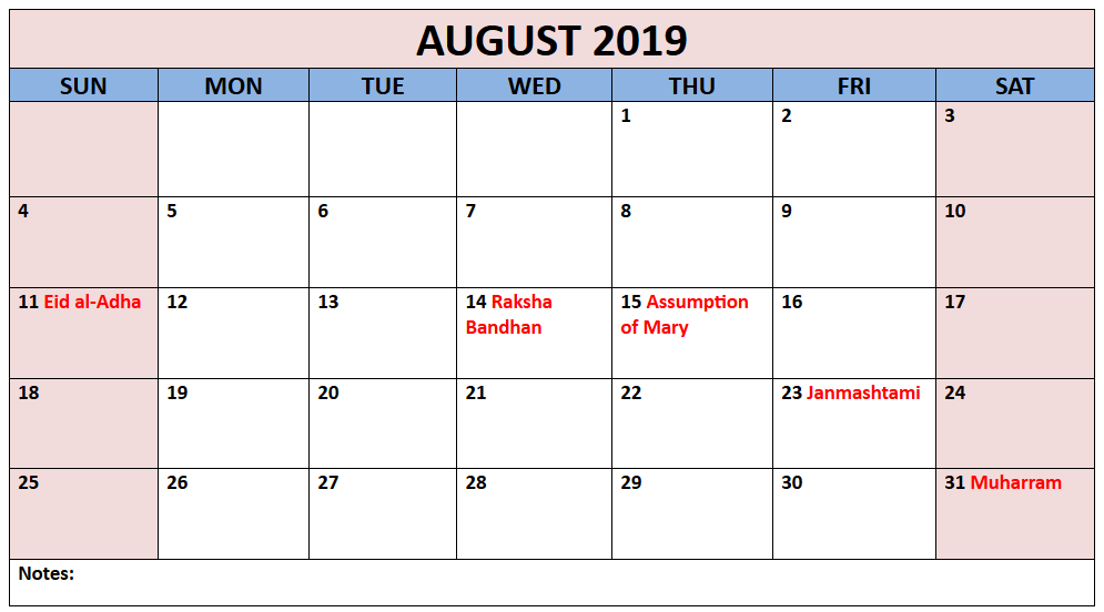 August 2019 Calendar with Holiday