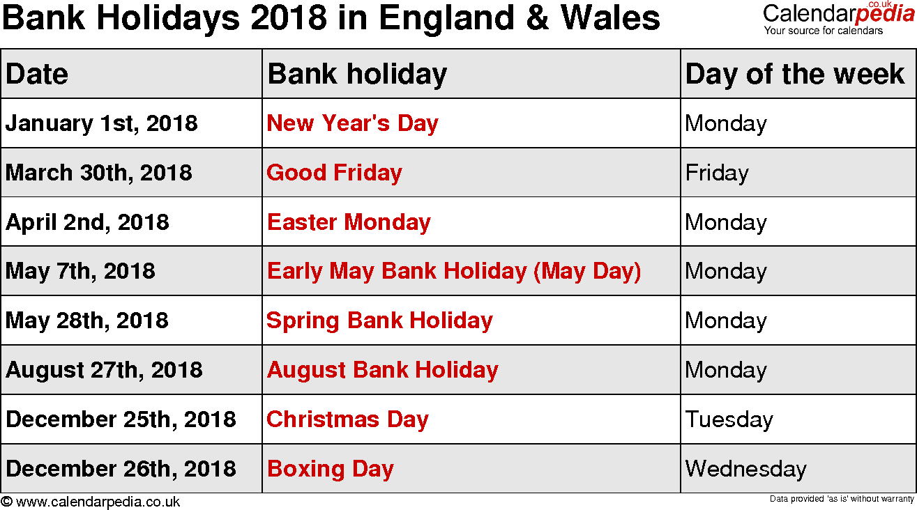 Bank Holidays 2018 England & Wales