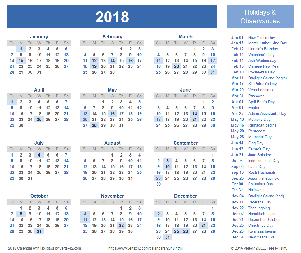 Free 2018 Calendar Printable Editable Blank Templates with Notes Online Download
