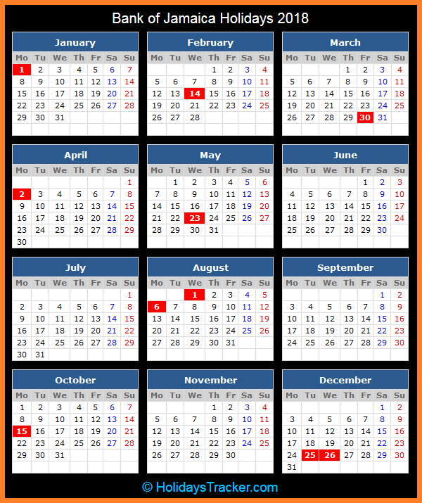Jamaica Bank Holiday Calendar 2018