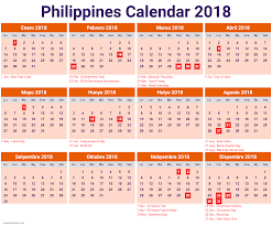 calendar 2018 Philippines with holidays
