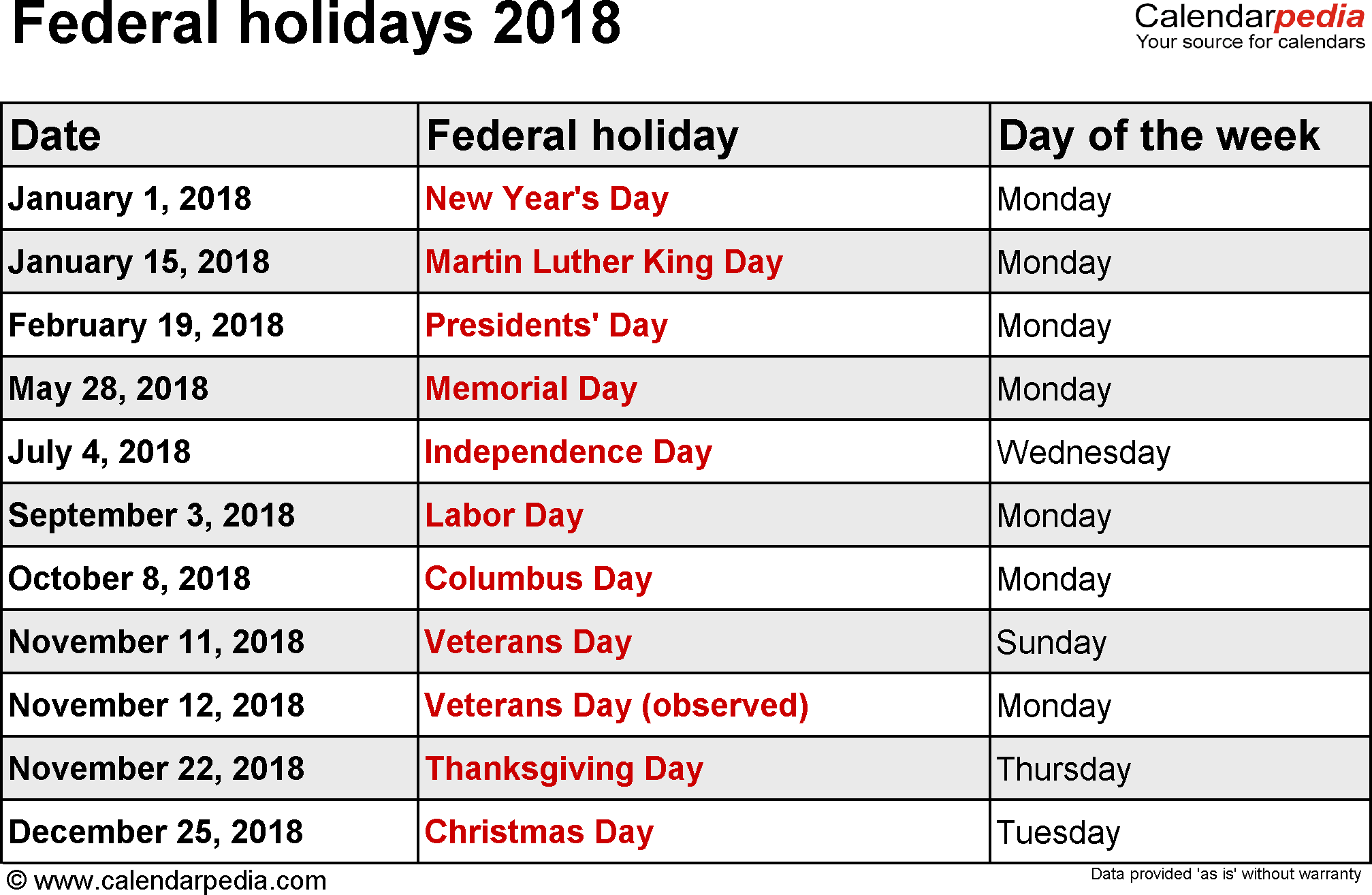 free printable 2018 calendar with holidays
