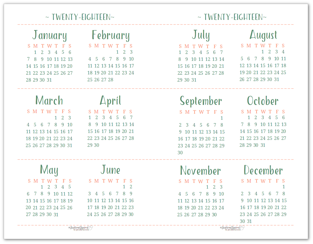 printable 2018 calendar by month