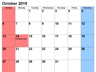 Holidays Calendar for October 2019