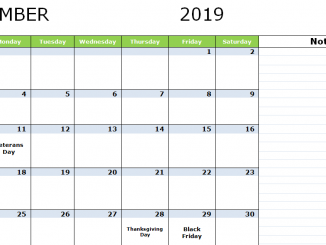 November 2019 Holidays Calendar USA