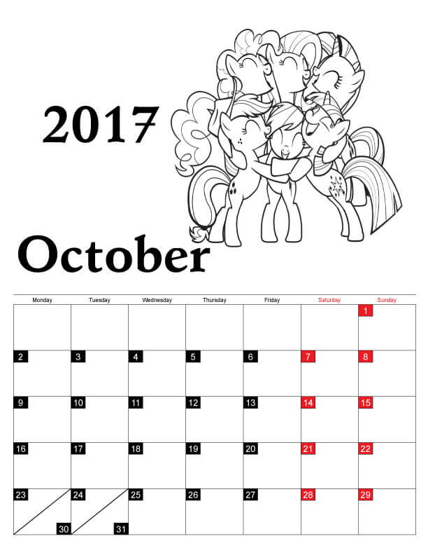 October 2017 Calendar Coloring Pages
