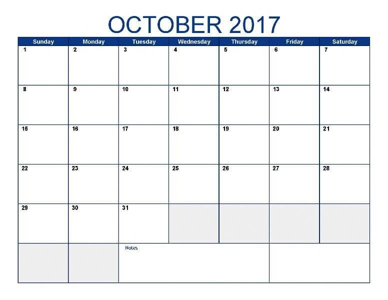 October 2017 Monthly Calendar Page
