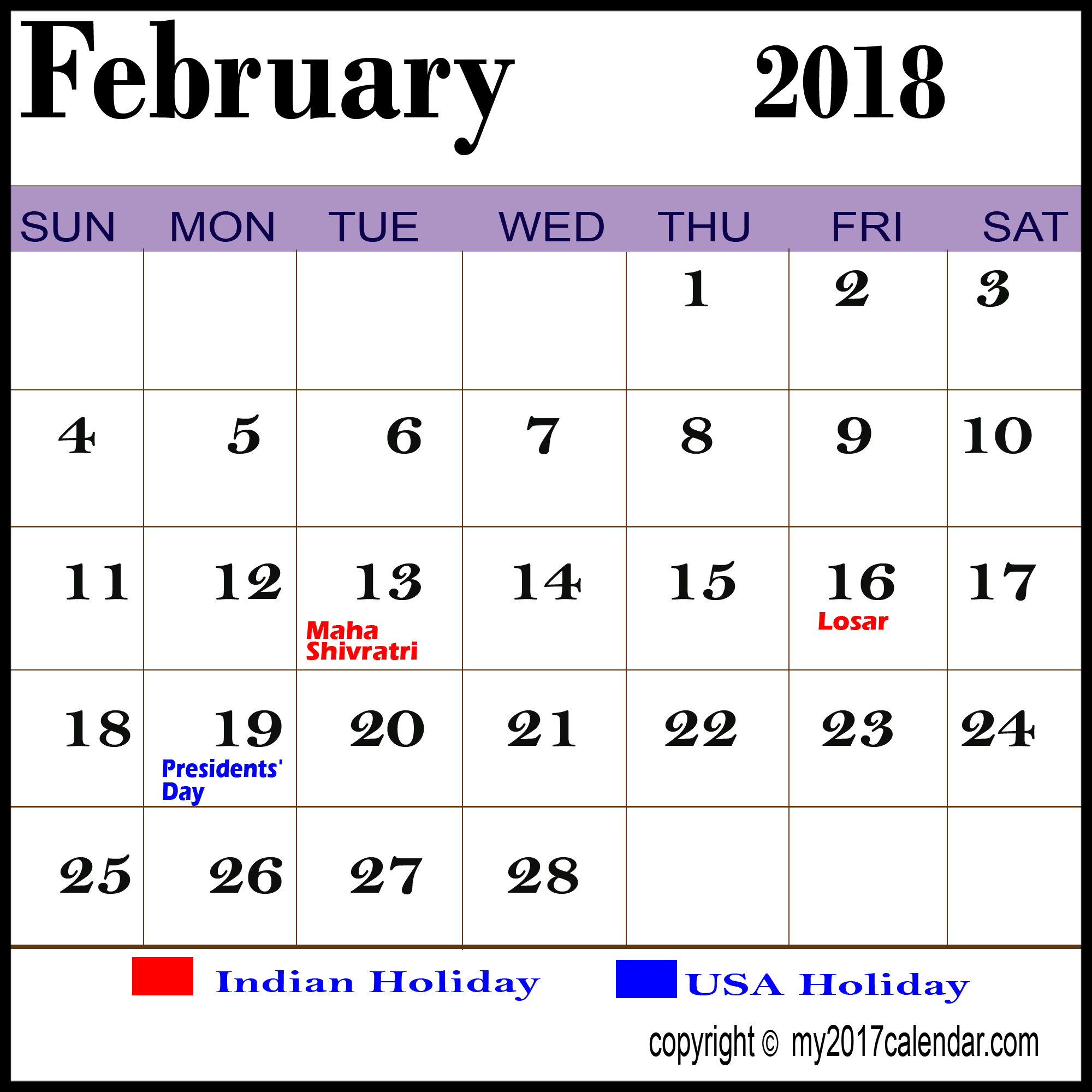2018 Calendar February with Holidays Indian