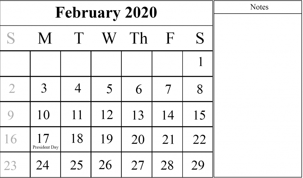Feb 2020 Fillable Calendar Printable