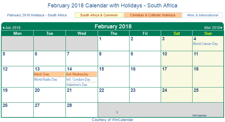 February 2018 Calendar with South Africa Holidays
