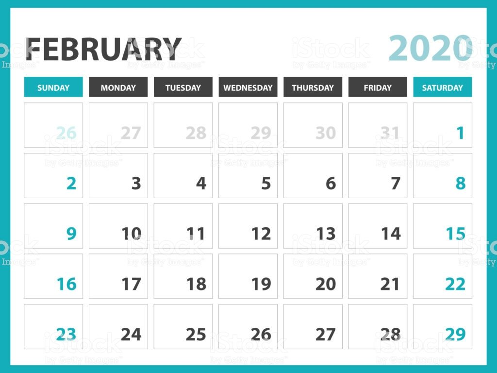 February 2020 Calendar A4 Letter page