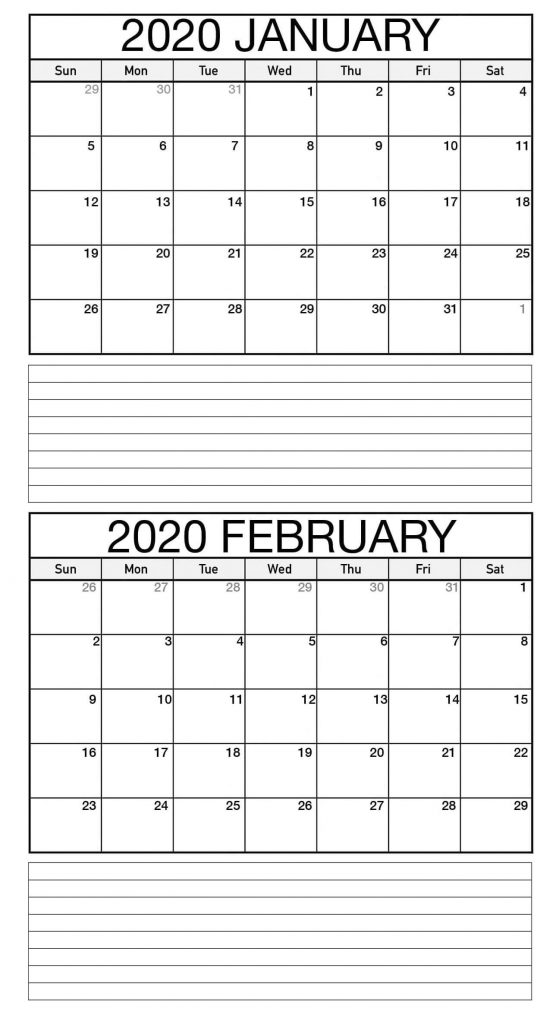 Fillable February 2020 Calendar Notes