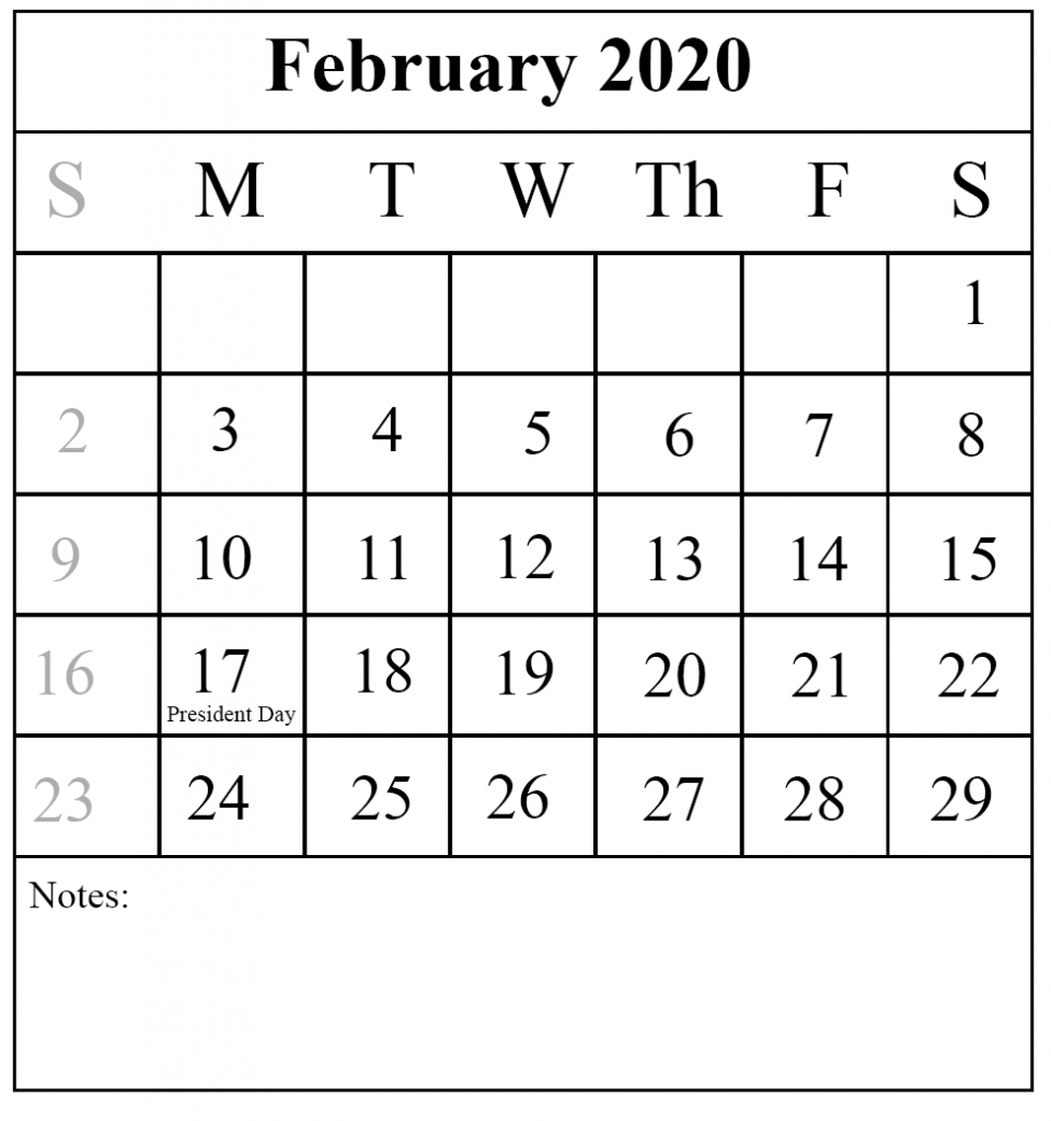 Free Download February 2020 Printable Calendar