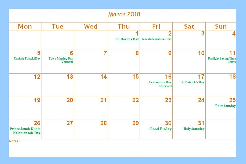 Calendar For March 2018 Holidays
