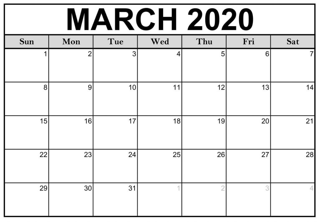 Calendar For March 2020 Printable Template