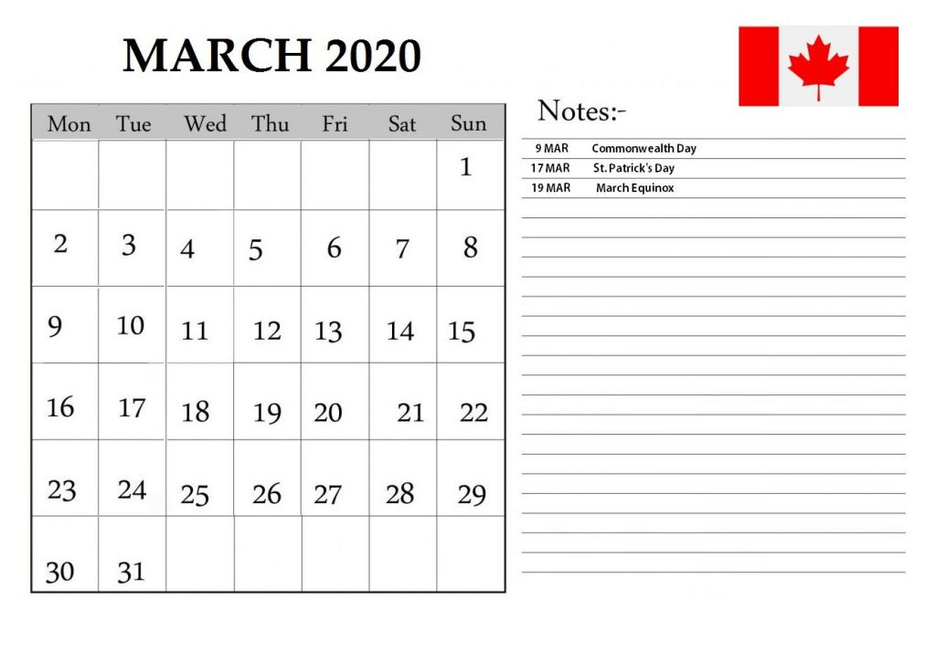 March 2020 Calendar Canada Holidays with Fillable Template