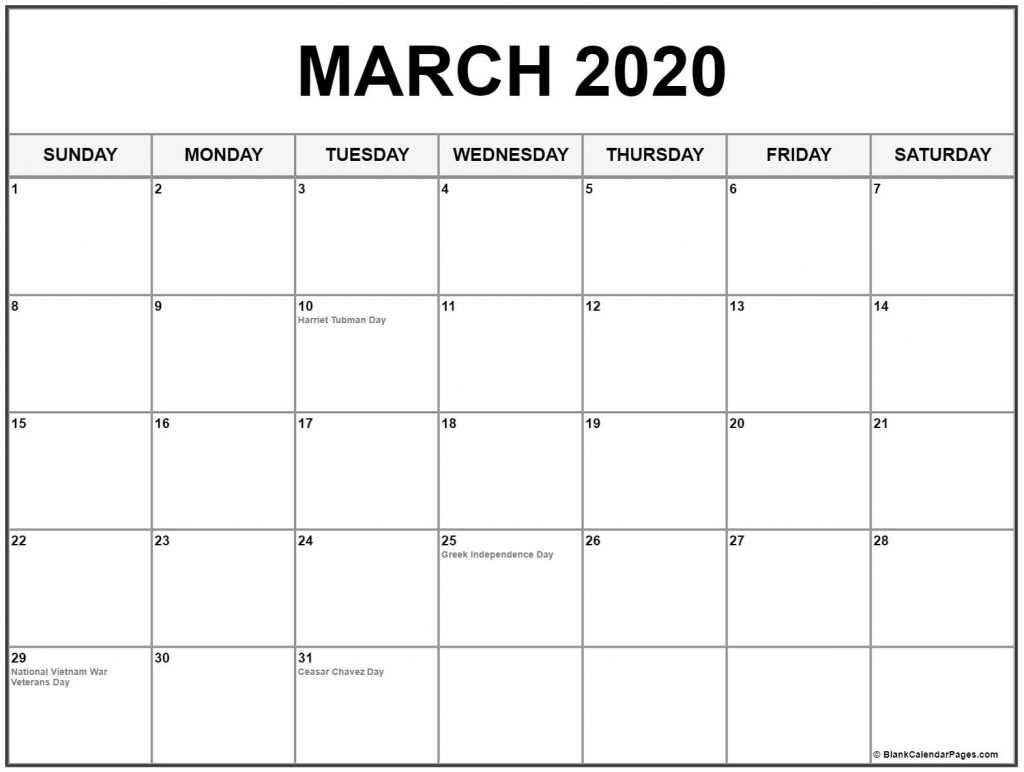 March 2020 Calendar Holidays