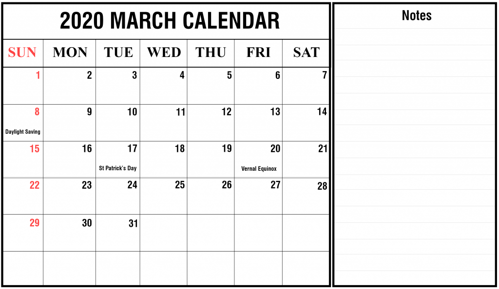 March 2020 Calendar with Holidays Template with Notes