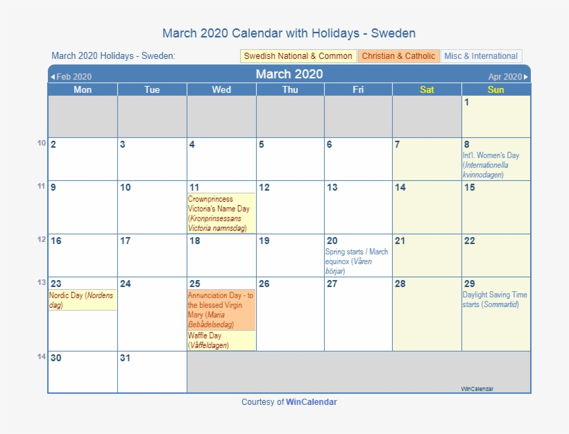 March 2020 Sweden Holidays