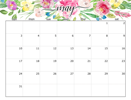 May 2020 Calendar PDF With Spring Weather